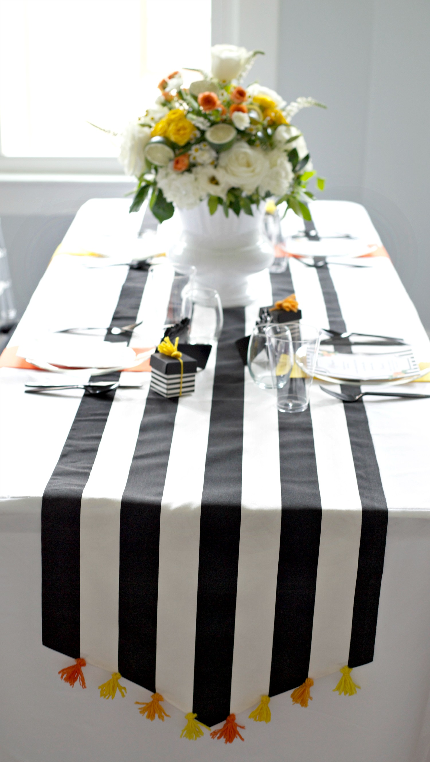 DIY Tassels | Video Tutorial | DIY Table Runner | Black, White, Orange, Yellow
