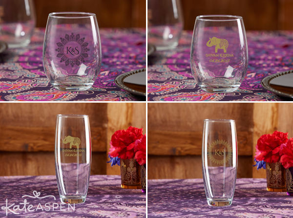 Indian Wedding with Kate Aspen |Personalized Glassware