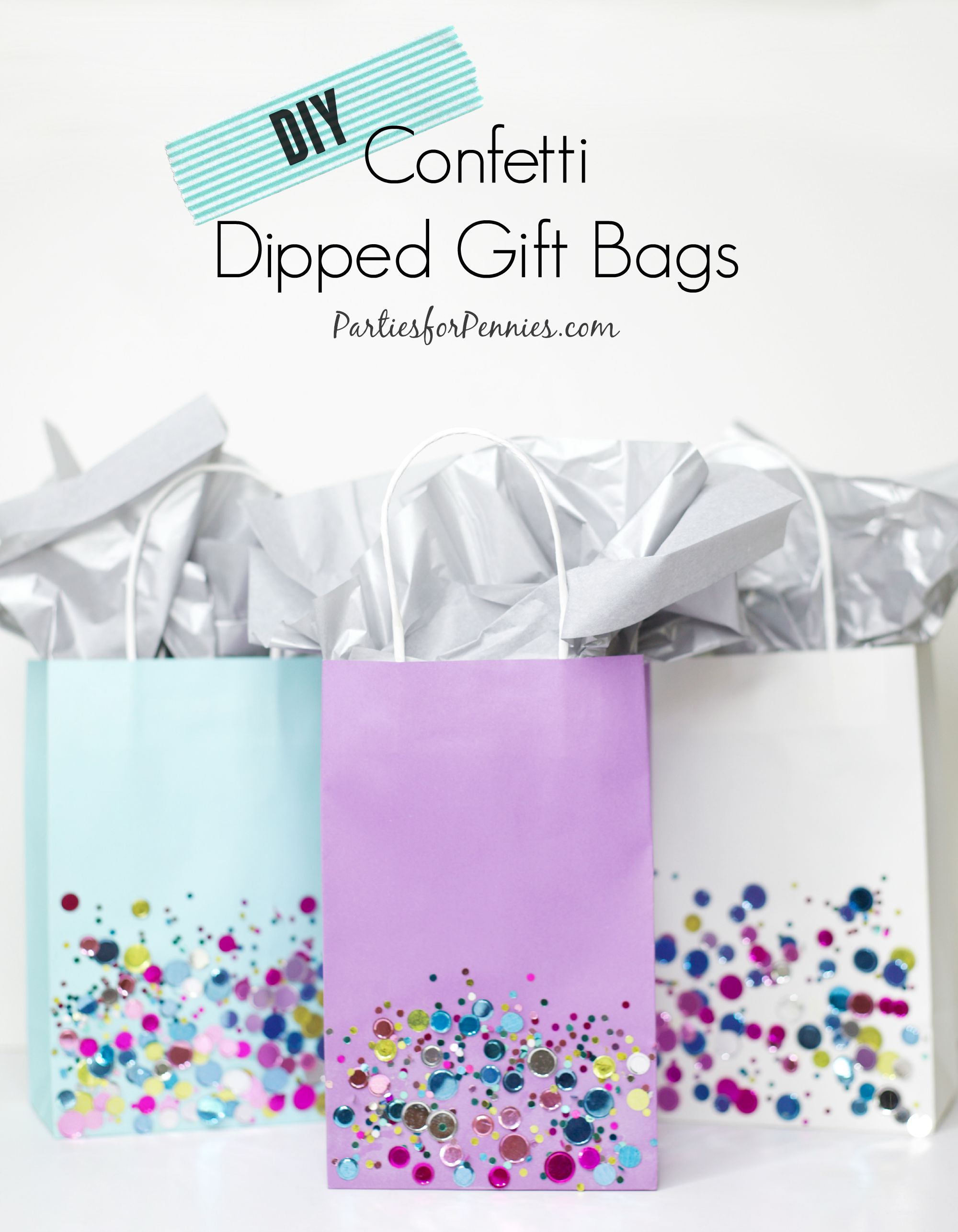 DIY Confetti Dipped Gift Bags | PartiesforPennies.com