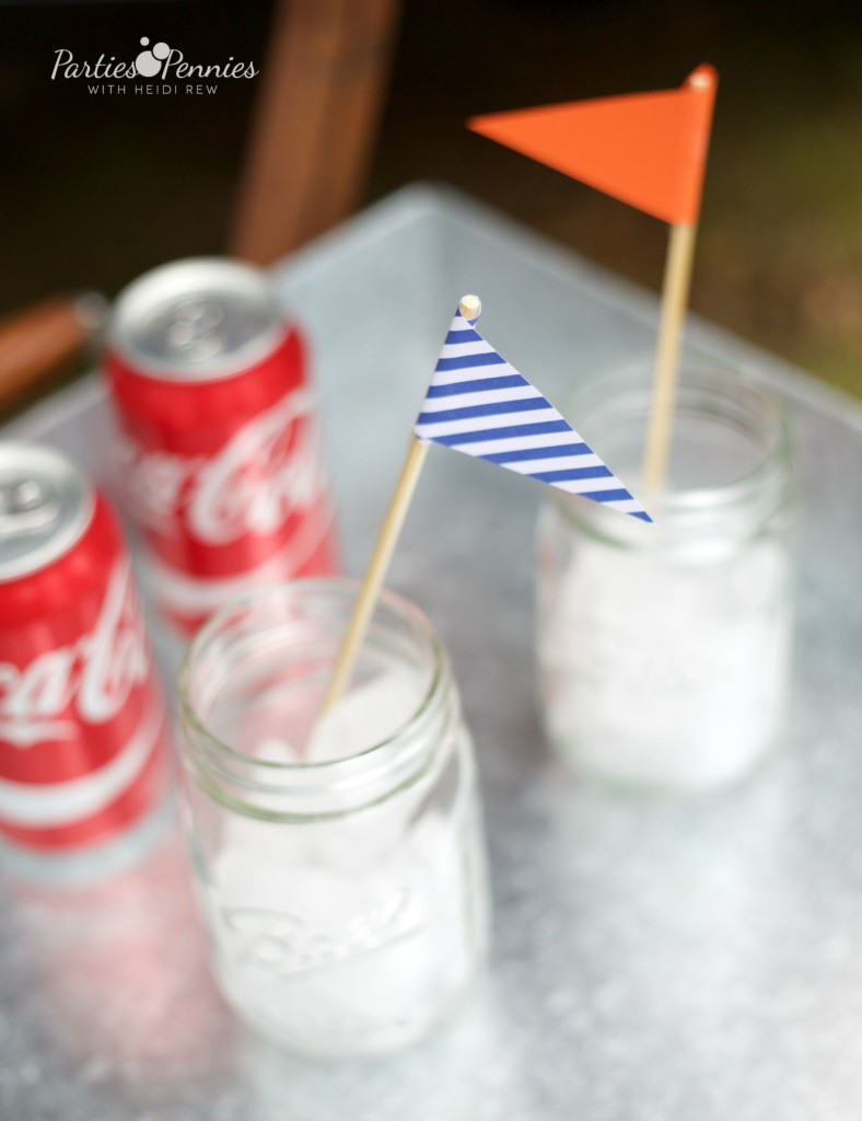Coca-Cola Fall Football Sam's Club | How to Throw a Tailgate Party | DIY Drink Flags | PartiesforPennies.com | #tailgate #floridagators #universityofflorida #shareyourspirit