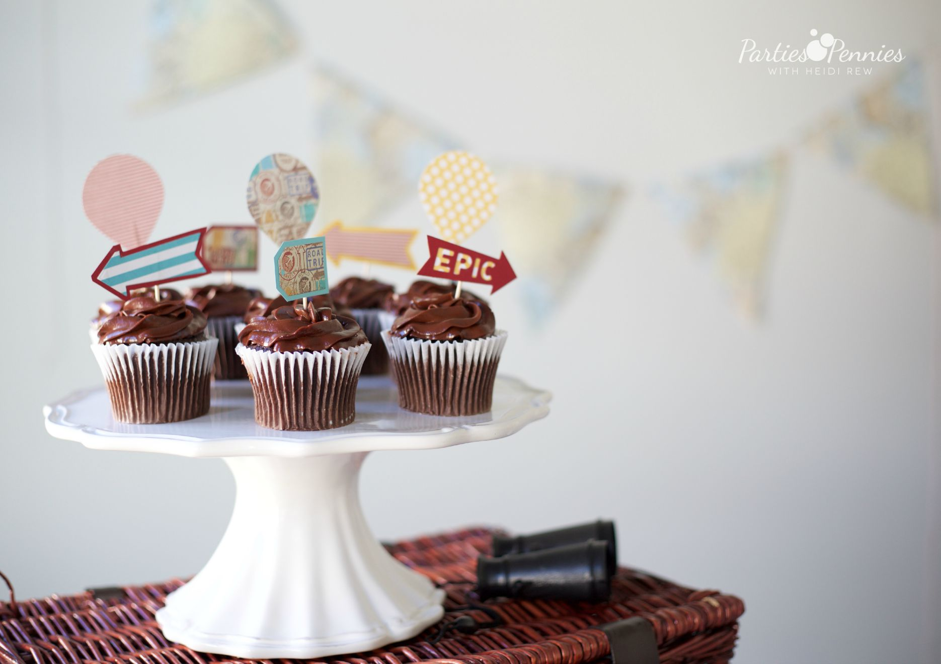 Passport Party | Travel Themed Party | Cupcake Toppers | PartiesforPennies.com | #Sizzix #videotutorial #travel