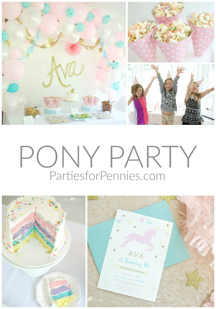 PONY PARTY | PartiesforPennies.com | My Little Pony | Pinkie Pie | Girl Birthday Party
