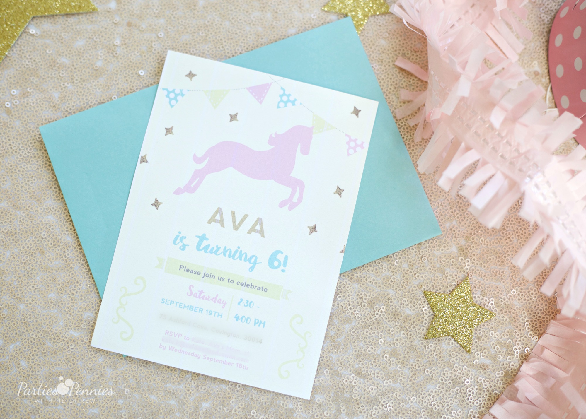PONY PARTY - Invitations | PartiesforPennies.com | My Little Pony | Pinkie Pie | Girl Birthday Party