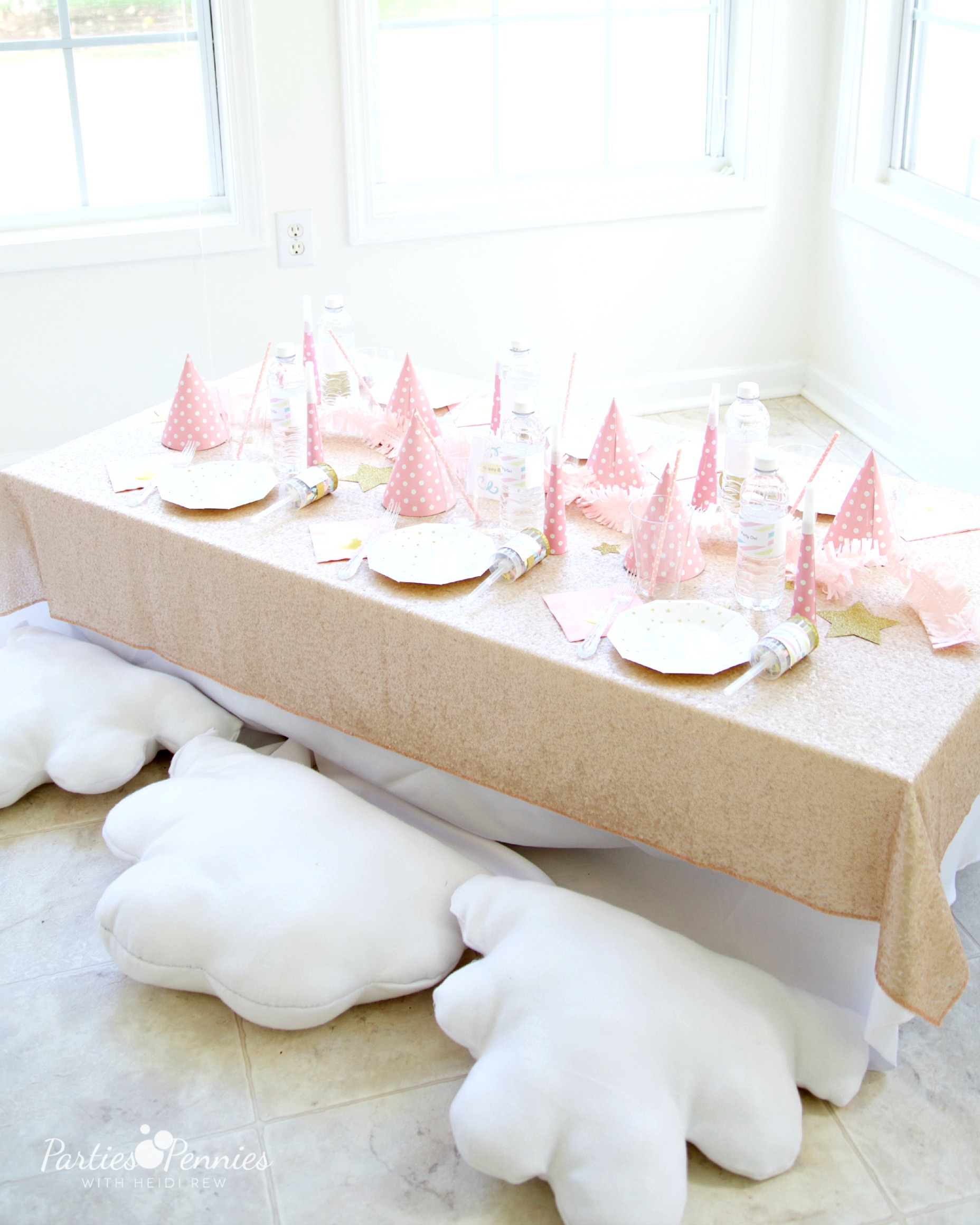 PONY PARTY - Table with Champagne Glitter tablecloth | PartiesforPennies.com | My Little Pony | Pinkie Pie | Girl Birthday Party