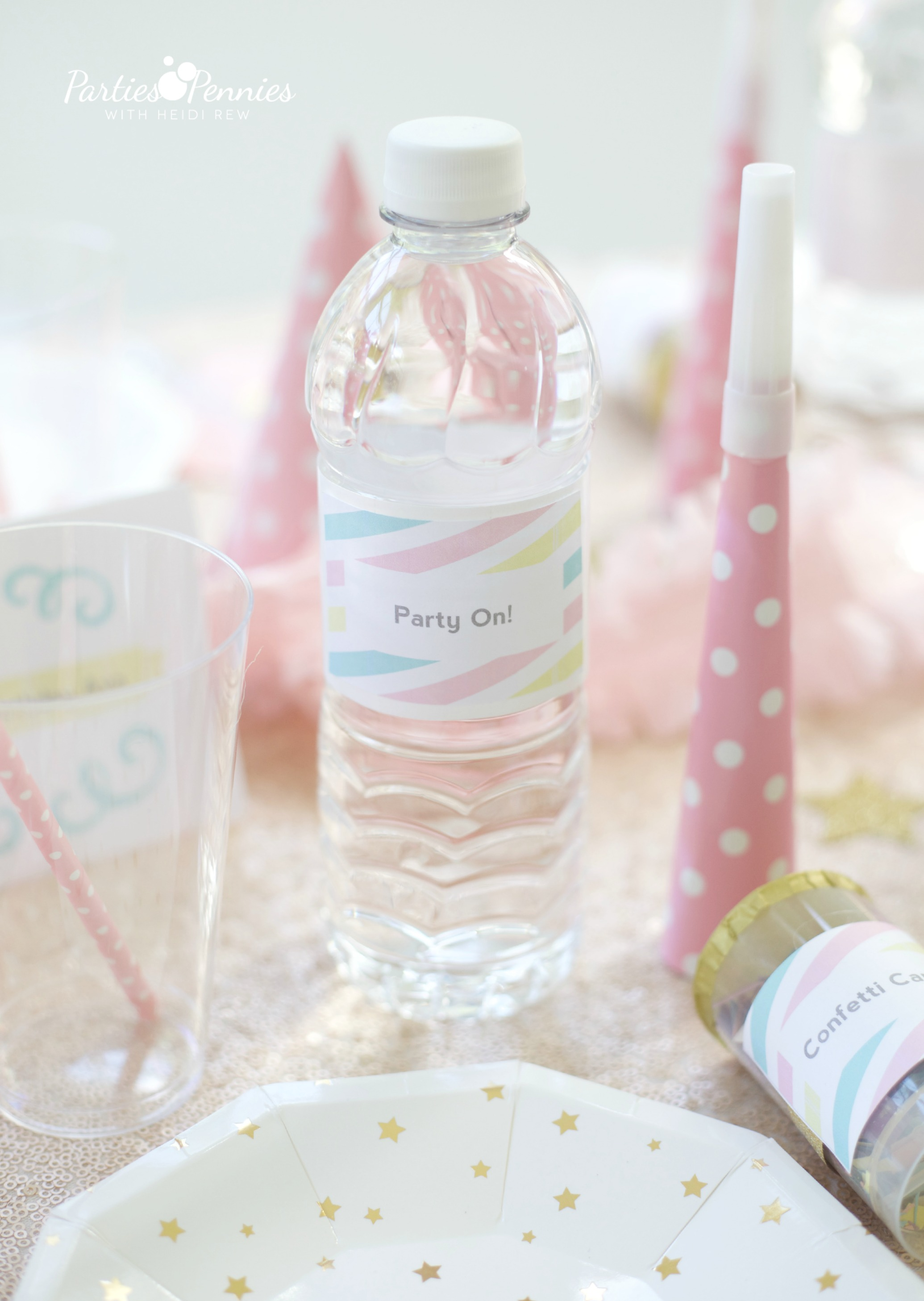 PONY PARTY - Water Bottle | PartiesforPennies.com | My Little Pony | Pinkie Pie | Girl Birthday Party
