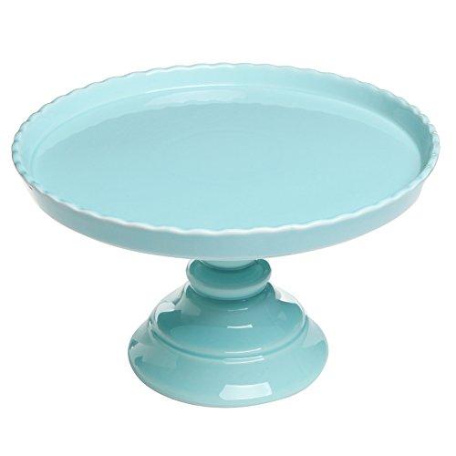 11 5 round scalloped rim ceramic cake dessert pedestal display stand mygift parties for - Ceramic pedestal table base ...