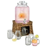 Artland-Oasis-Beverage-Infusing-Dispenser-Jar-Set-with-Stand-Seagrass-3-Gallon-Clear-0
