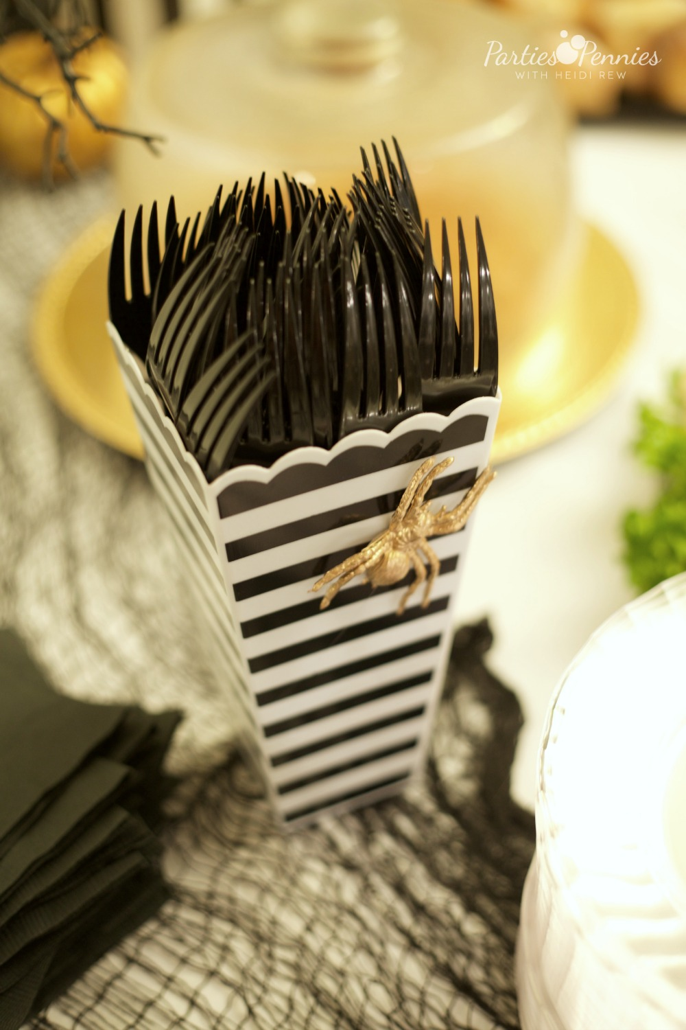 Beetlejuice Halloween Party | PartiesforPennies.com | Bug Utensil Holder