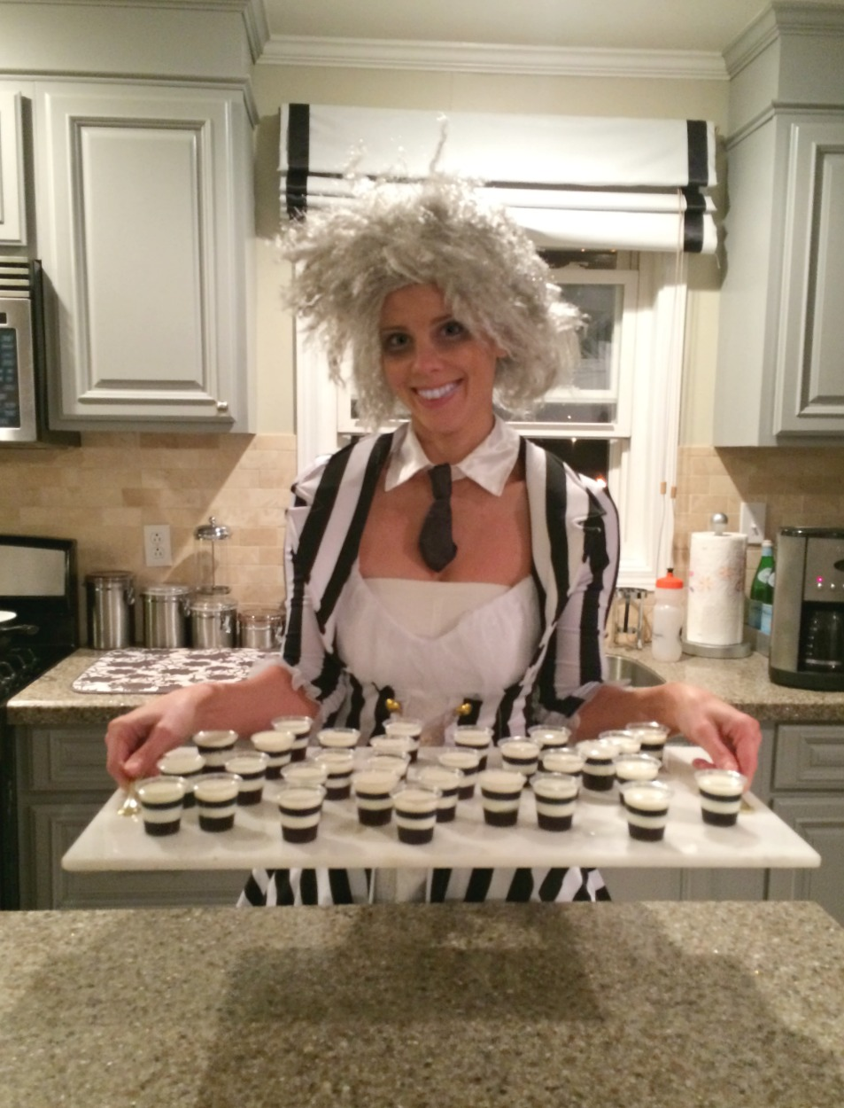 Beetlejuice Halloween Party | PartiesforPennies.com | Black and White Striped  Jello Shots