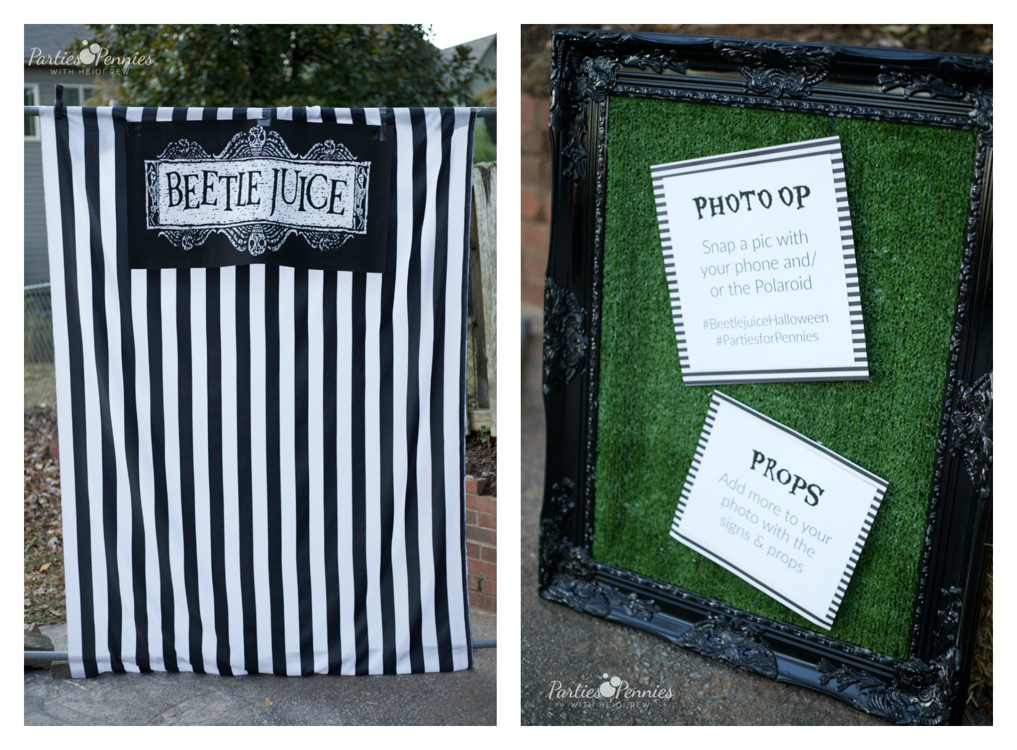 Beetlejuice Halloween Party | PartiesforPennies.com | DIY Photo Backdrop