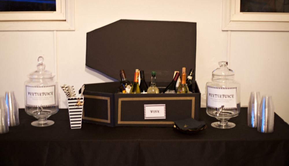 Beetlejuice Halloween Party | PartiesforPennies.com | DIY Wine Coffin Cooler