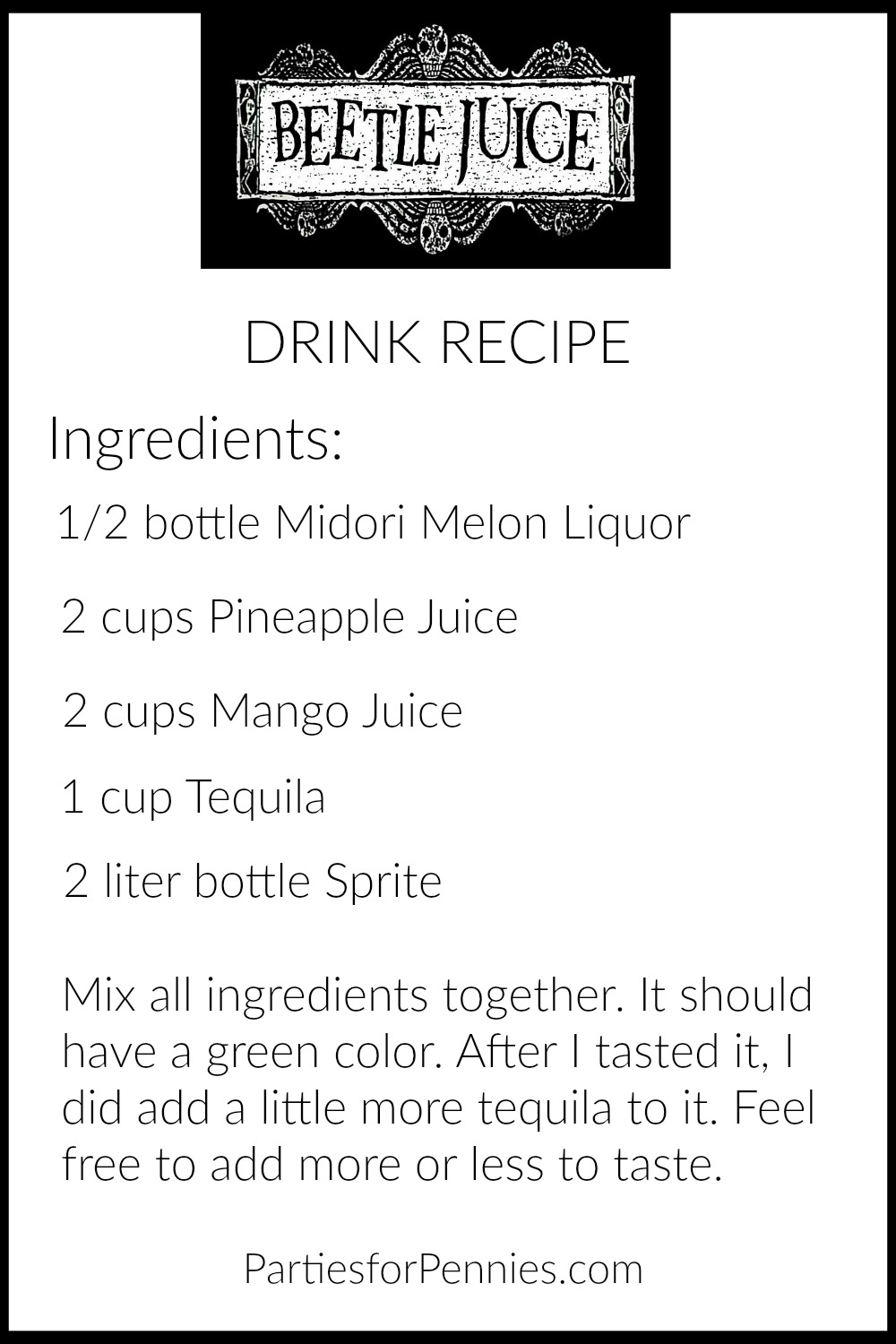 Beetlejuice Halloween Party | PartiesforPennies.com | Beetlejuice Drink Recipe