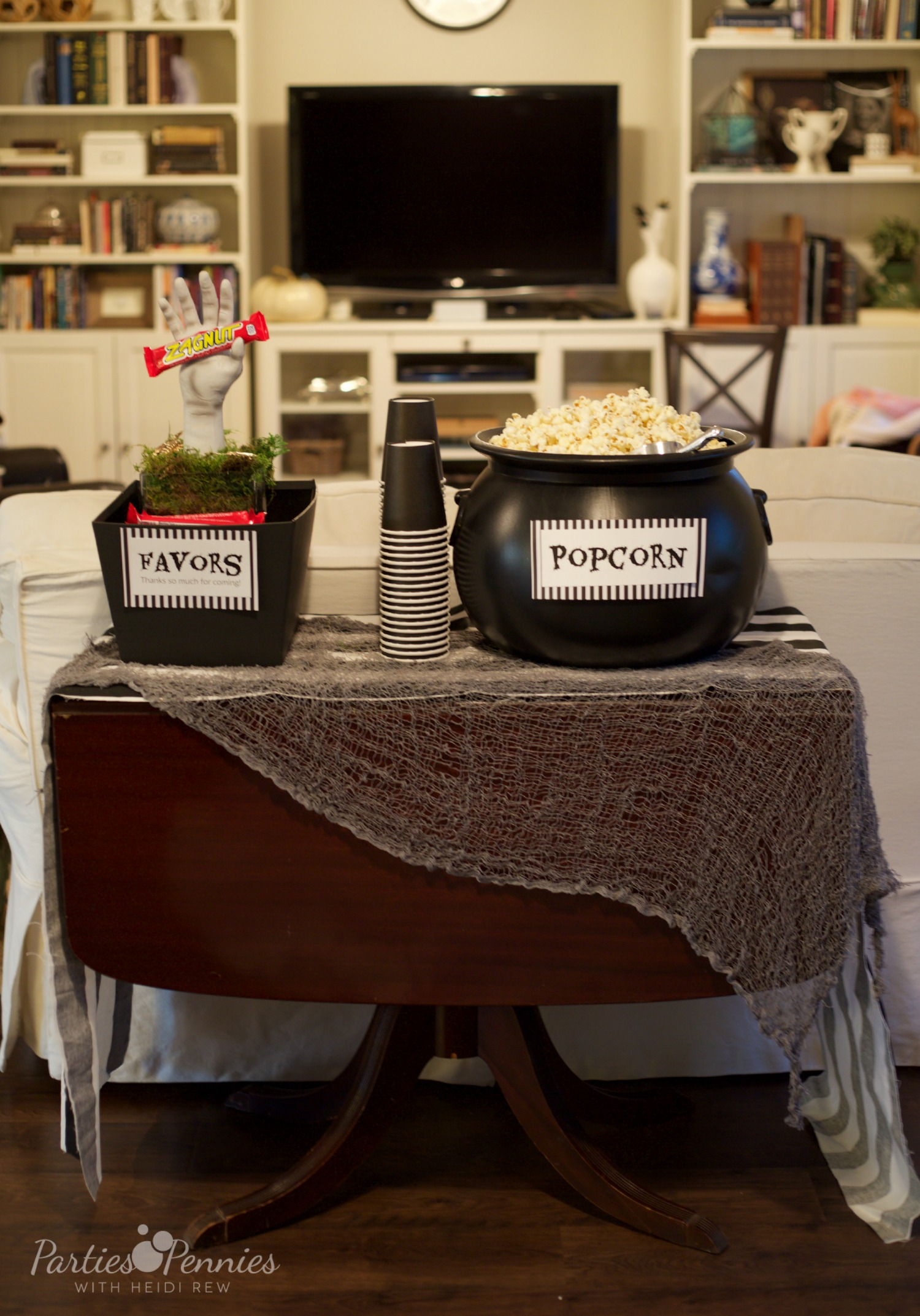 Beetlejuice Halloween Party | PartiesforPennies.com | Popcorn and Favors