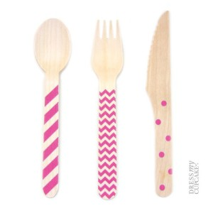 Dress-My-Cupcake-Stamped-Wooden-Cutlery-Set-ChevronStripedPolka-Dot-Fuchsia-18-Pack-0