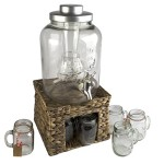 Oasis-Beverage-Jar-with-Chiller-and-Infuser-6-Mason-Jars-Faux-Wicker-Stand-0