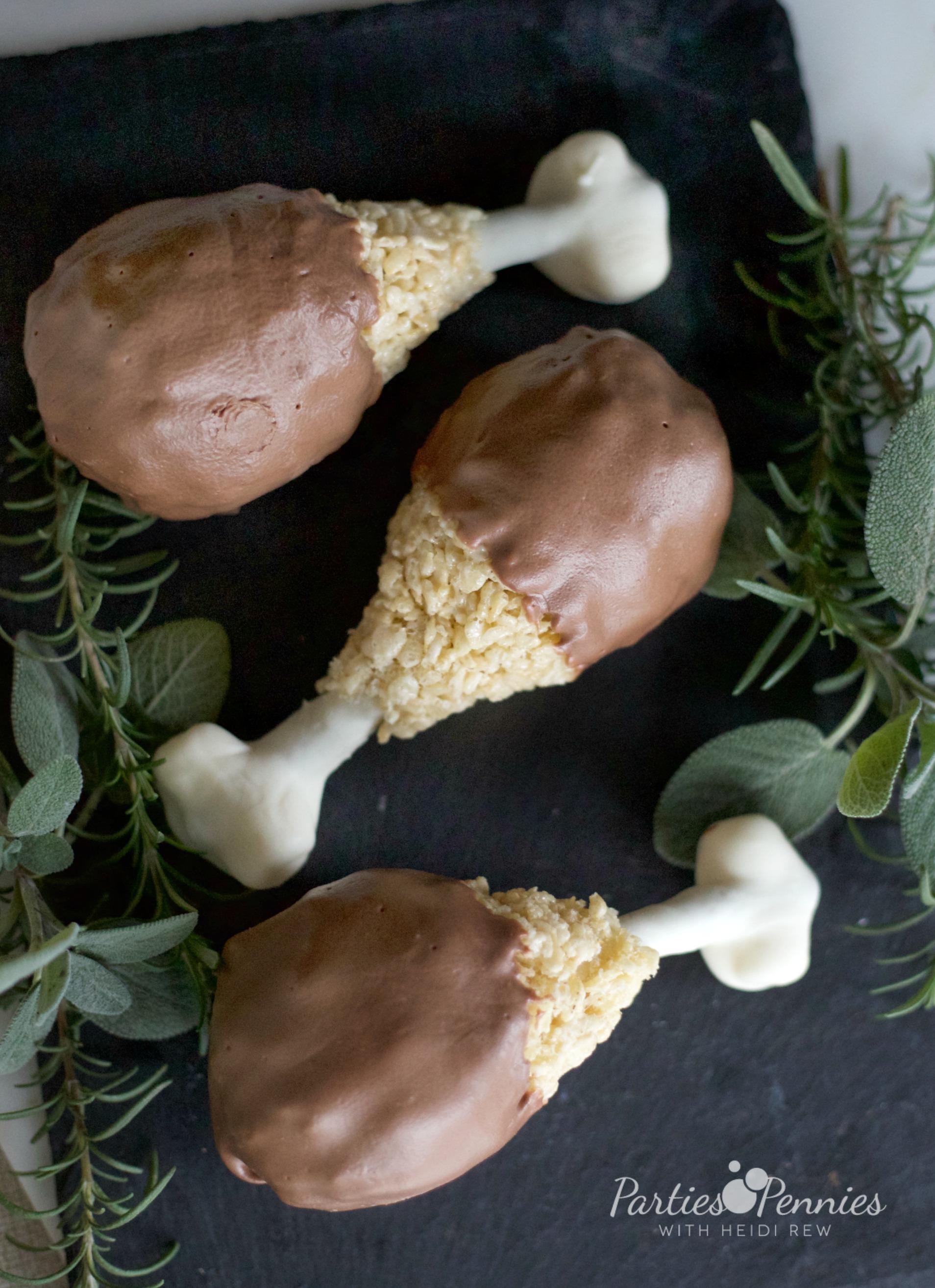 Turkey Leg Treat Recipe | PartiesforPennies.com | Rice Krispy Treat | #thankgiving #kids #dessert #videotutorial