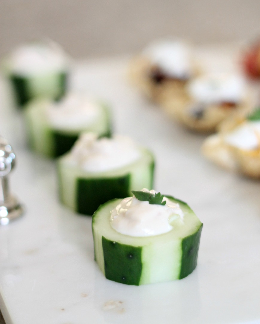 Cucumber Cup Appetizers by PartiesforPennies.com | 20 Budget Friendly Appetizer Recipes