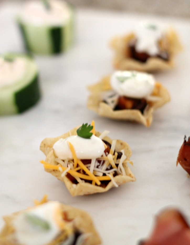 Mexican Cup Appetizers by PartiesforPennies.com | 20 Budget Friendly Appetizer Recipes