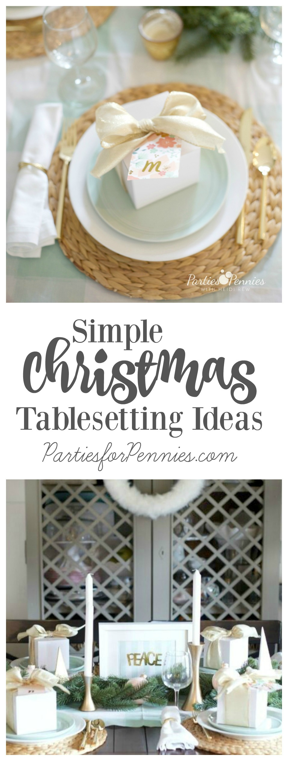 Simple Christmas Tablesetting Ideas by PartiesforPennies.com | Christmas Dinner Party, Entertaining, Tips