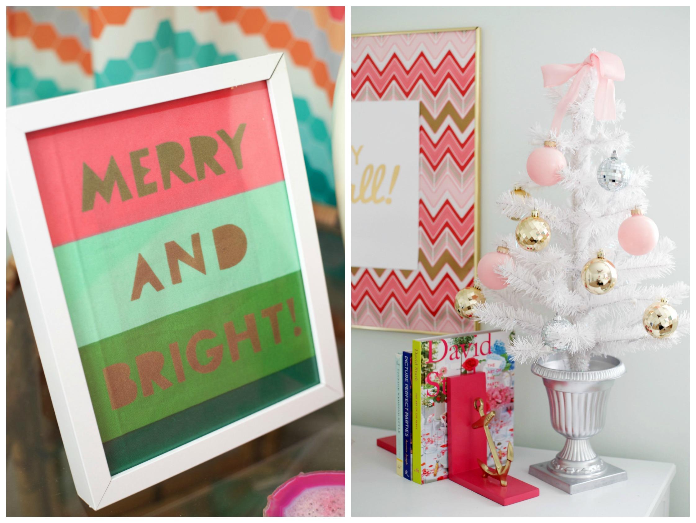 Christmas Towel Art Idea | DIY Christmas Art | Pink & White Christmas Tree