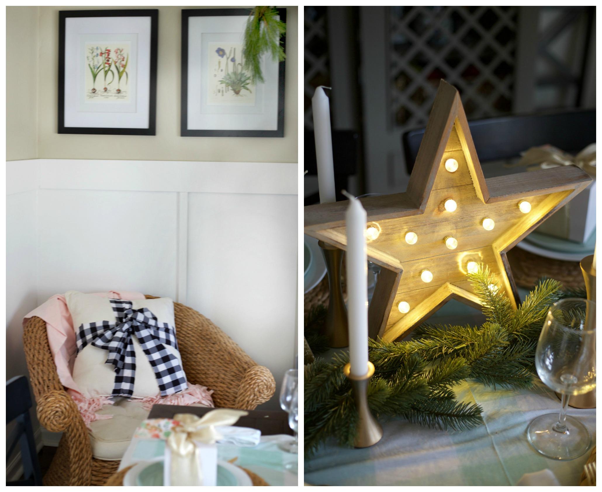 Easy Christmas Decorating Ideas | PartiesforPennies.com | Budget Friendly | Easy Christmas Pillow Idea | Light-Up Star Centerpiece