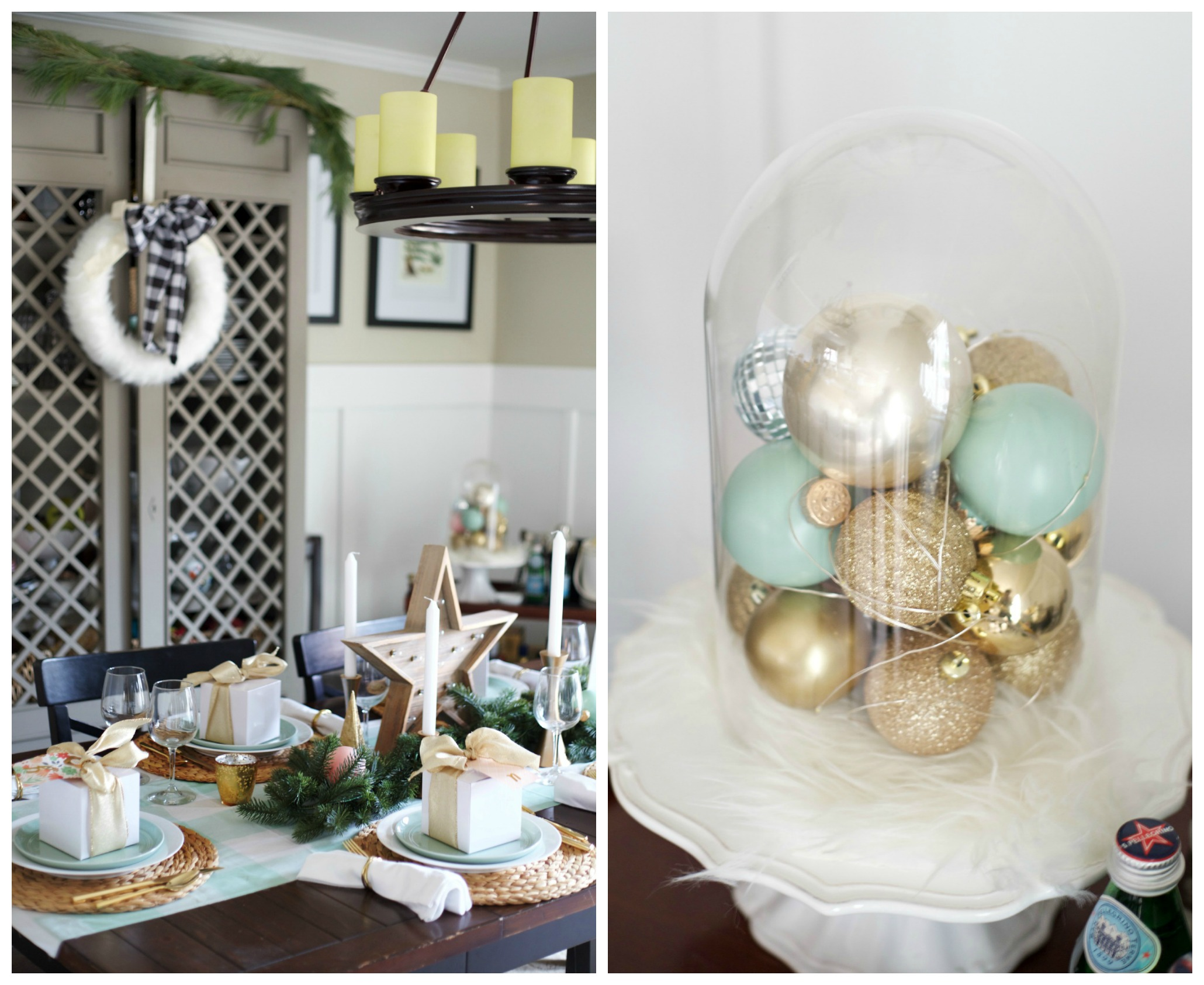 Easy Christmas Decorating Ideas | PartiesforPennies.com | Budget Friendly | Dining Room | Ornament Decoration Idea