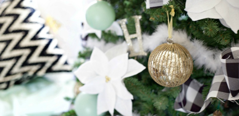 Easy Christmas Decorating Ideas | PartiesforPennies.com | Budget Friendly | Christmas Tree | Tree Classics | Mint Tree | Mint, Black, White, and Gold