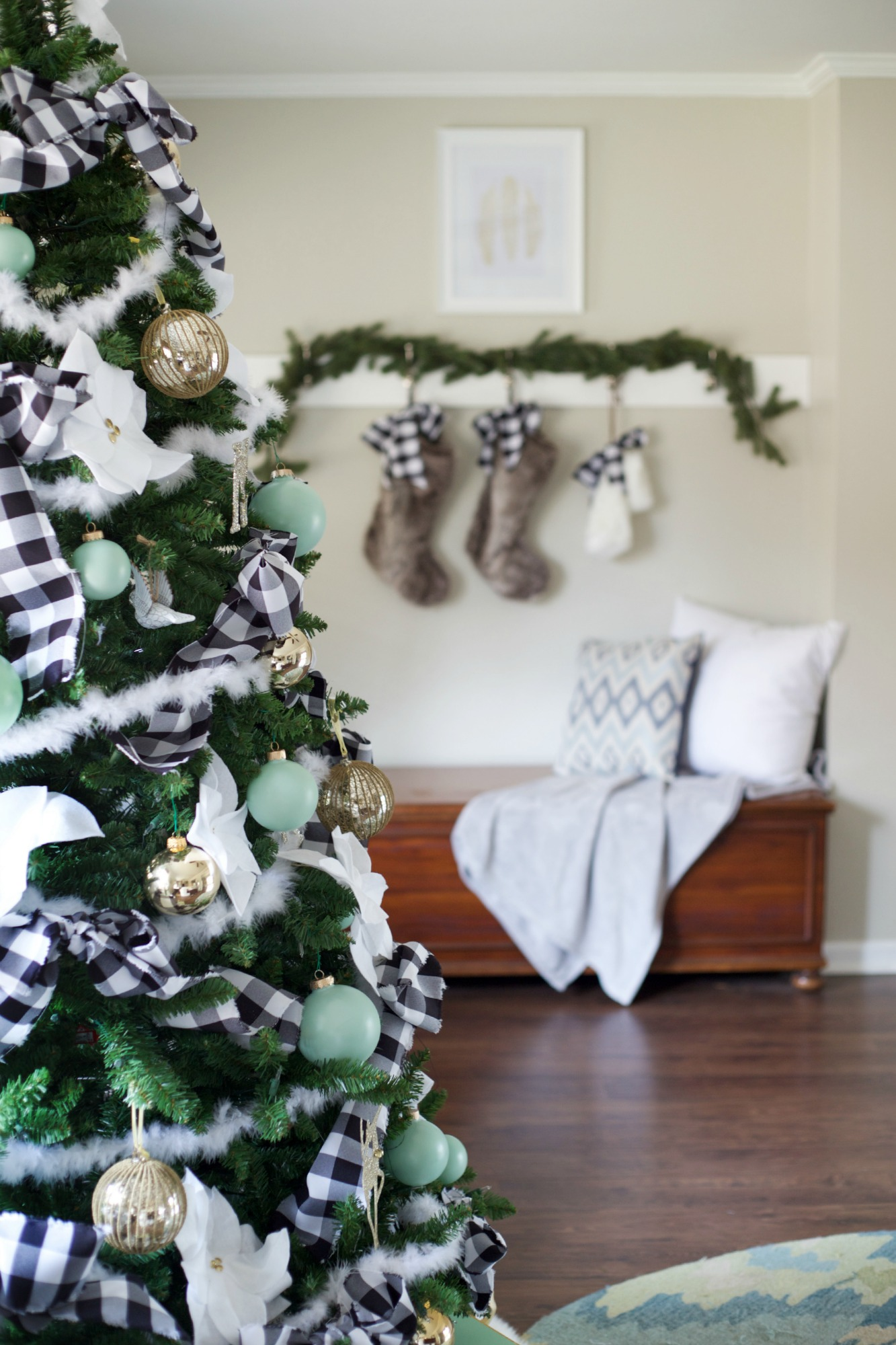 Easy Christmas Decorating Ideas | PartiesforPennies.com | Budget Friendly | Stockings on Coat Hooks