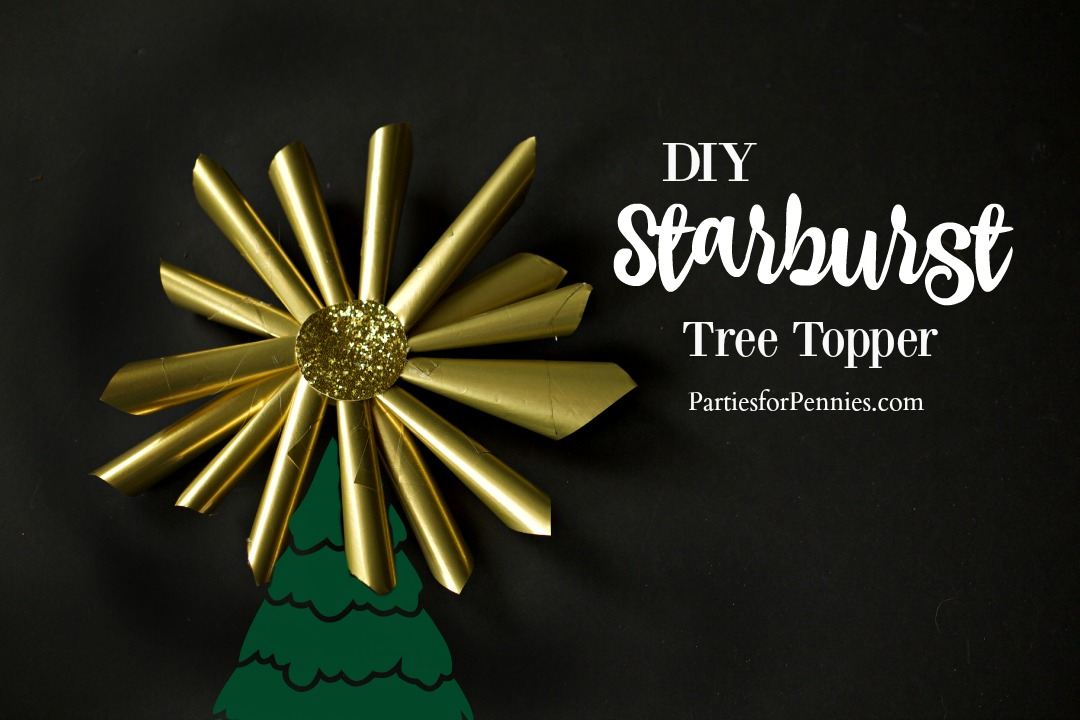 DIY Starburst Tree Topper | PartiesforPennies.com | Christmas Tree | Paper Craft | Wrapping Paper Craft | DIY Tree Topper