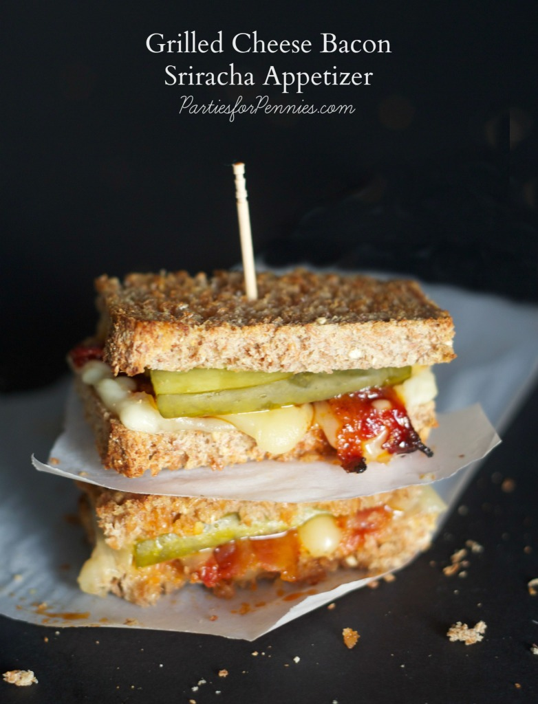 Football Appetizer by PartiesforPennies.com | Grilled Cheese Sriracha Appetizer | 20 Budget-Friendly Appetizers