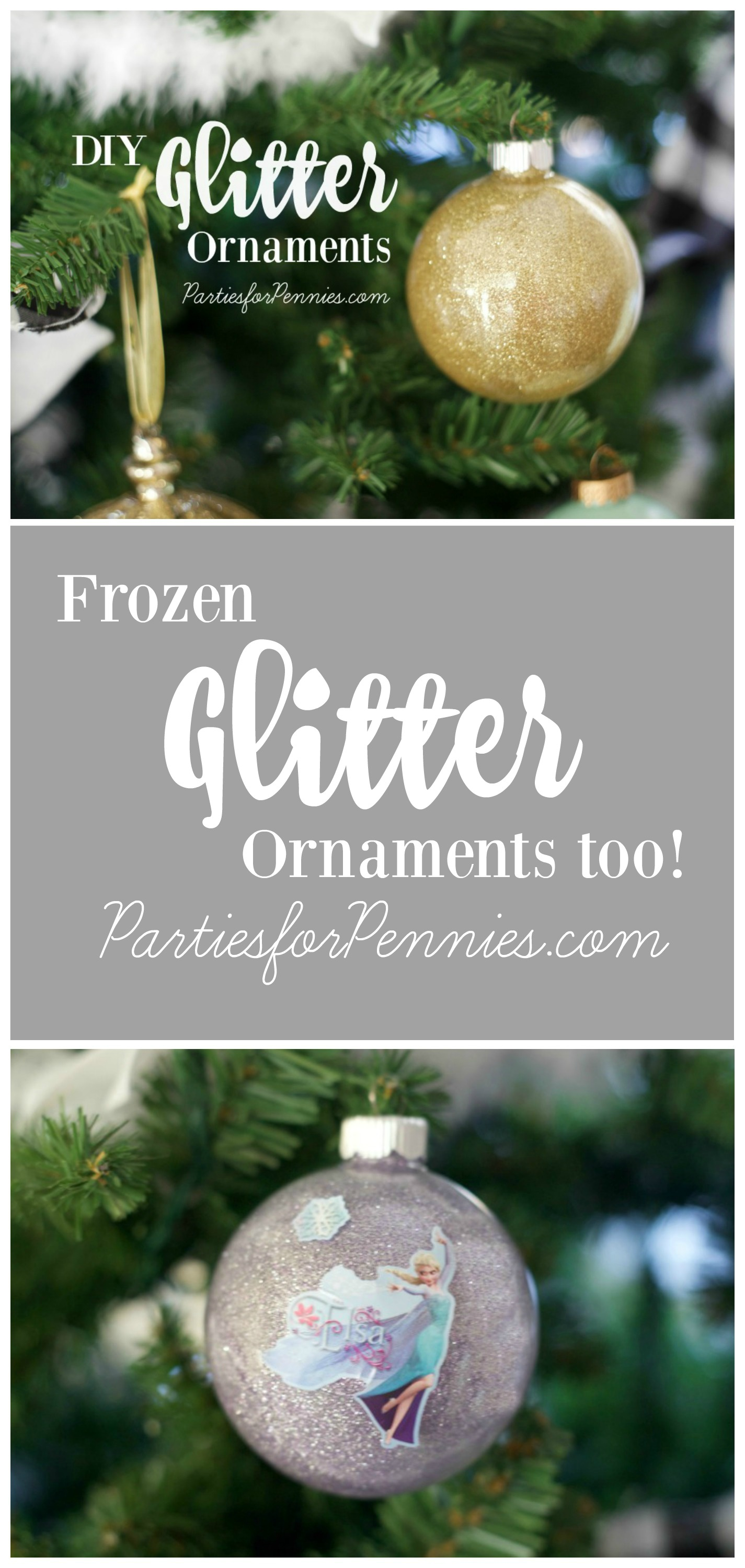 Glitter Ornament DIY by PartiesforPennies.com
