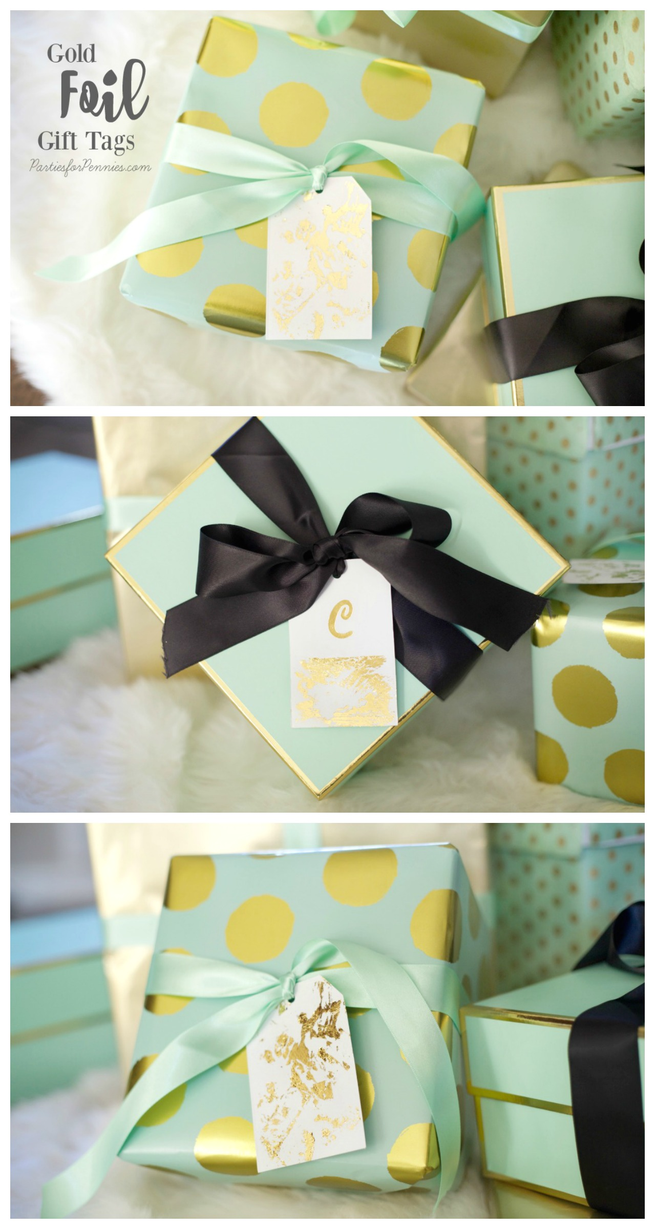 How to Make Gold Foil Gift Tags by PartiesforPennies.com | Christmas, Presents, Gifts, DIY, Gift Wrapping