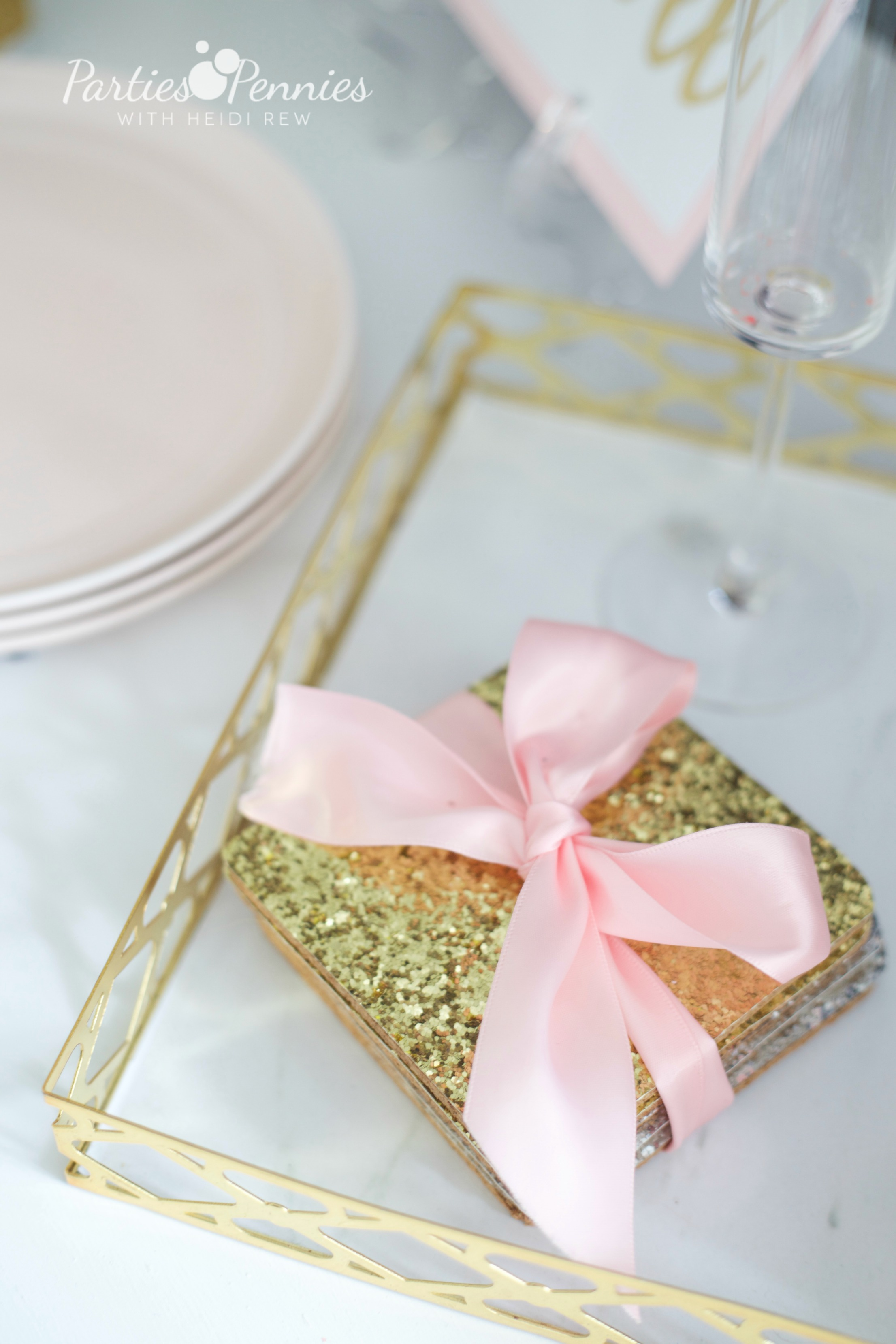 6 Budget-Friendly New Year's Eve Party Ideas by PartiesforPennies.com | DIY Glitter Coasters | NYE, Navy and Pink,