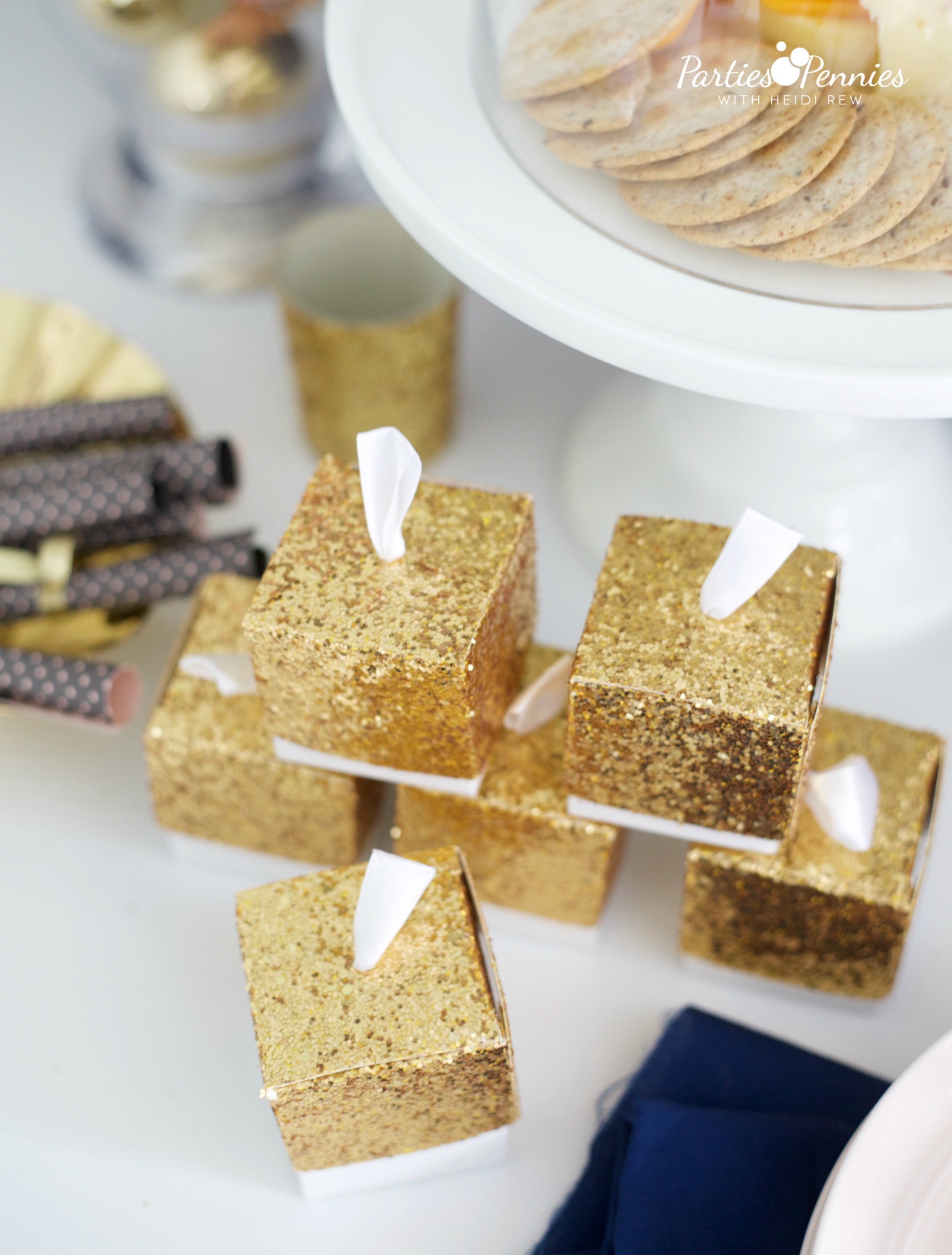 6 Budget-Friendly New Year's Eve Party Ideas by PartiesforPennies.com | Kate Aspen Favor Boxes | Free Printable, NYE, Navy and Pink,