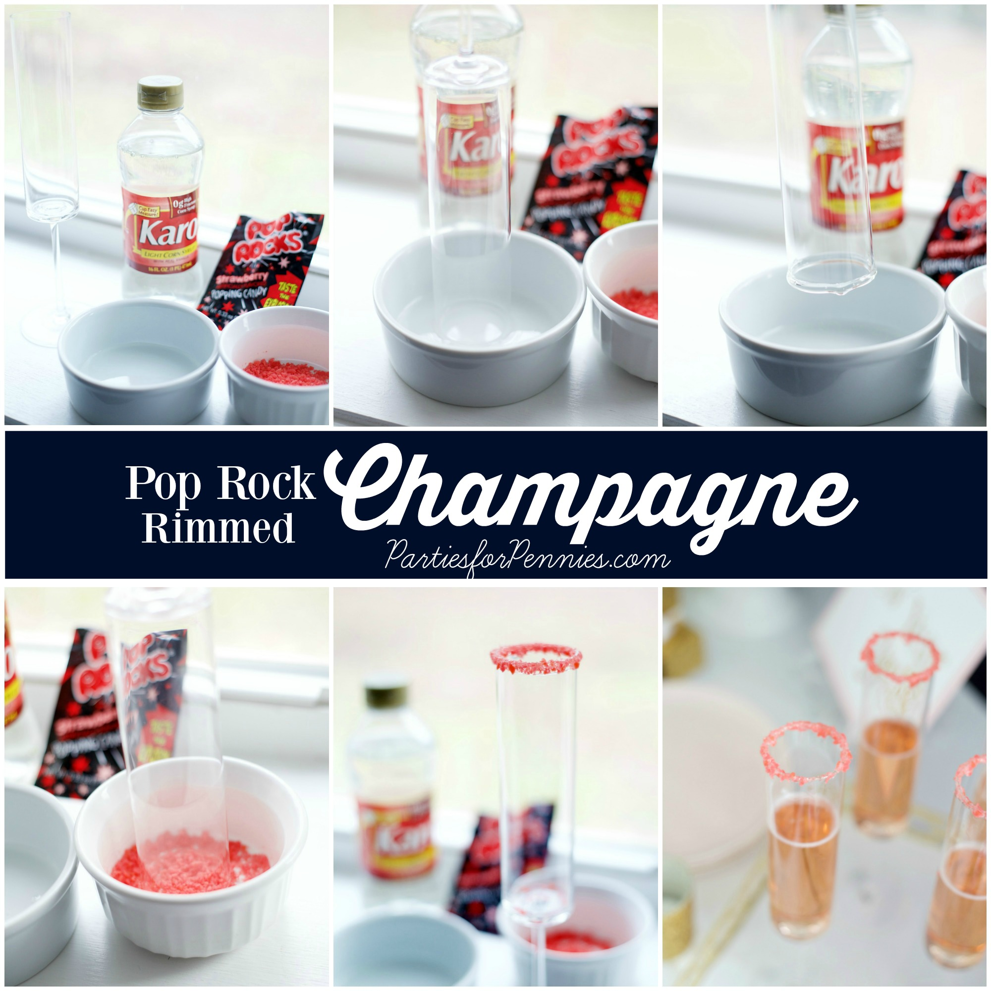 6 Budget-Friendly New Year's Eve Party Ideas by PartiesforPennies.com | Pop Rock Rimmed Champagne |Drink Recipe, NYE, Navy and Pink,