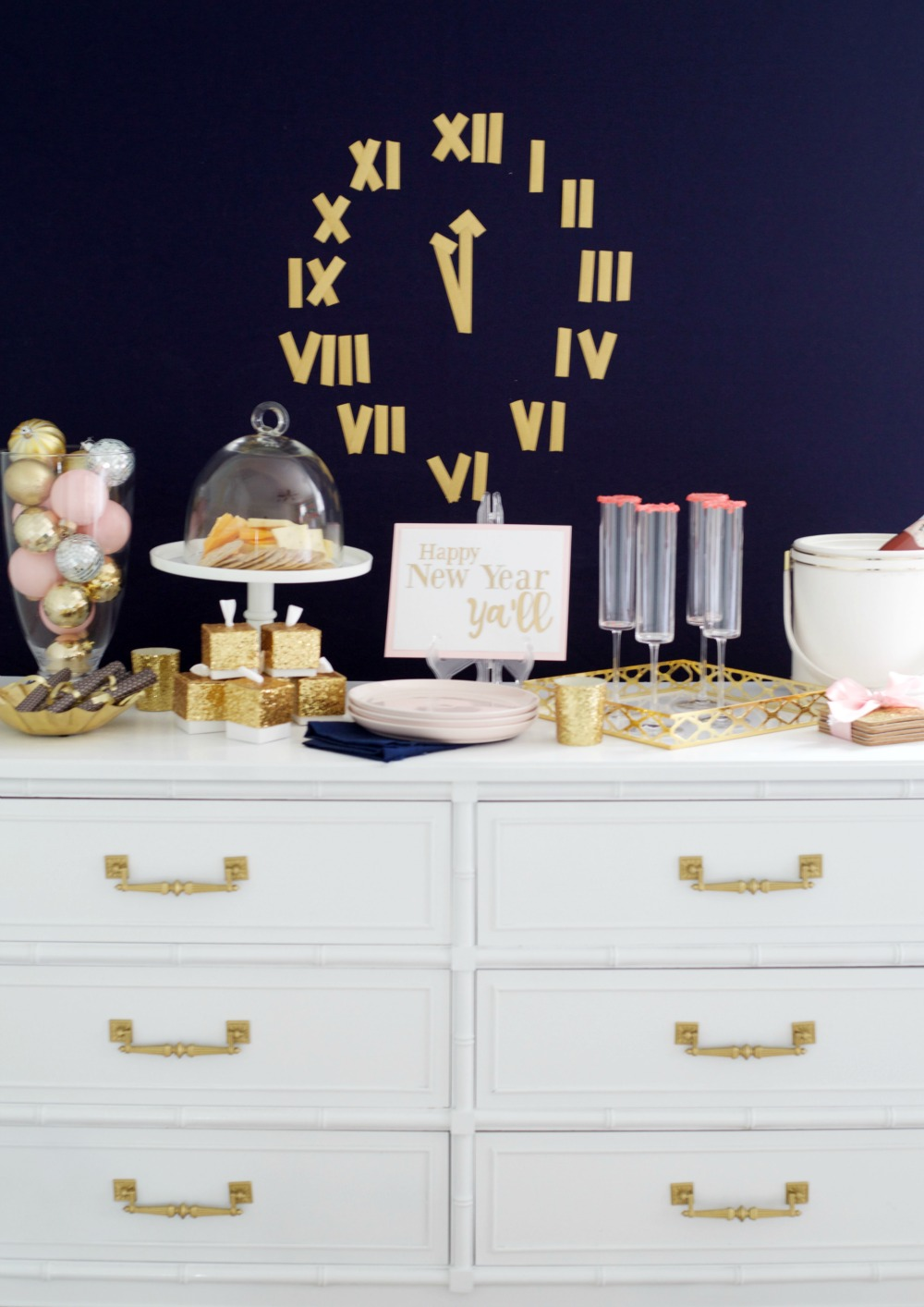 6 Budget-Friendly New Year's Eve Party Ideas by PartiesforPennies.com | NYE, Navy and Pink,