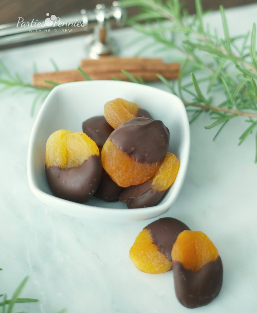 Chocolate Dipped Apricot Appetizer Recipe by PartiesforPennies.com