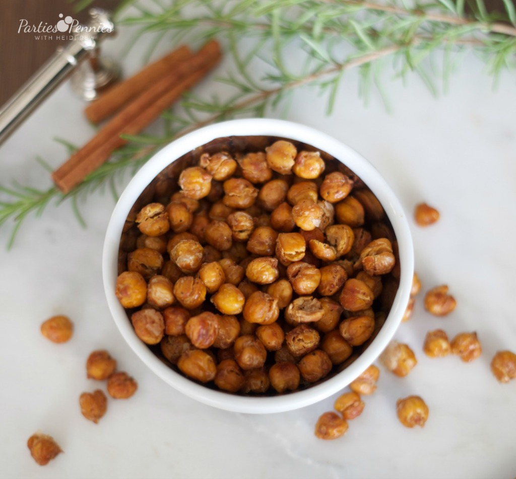 Roasted Chickpeas by PartiesforPennies.com  | 20 Budget Friendly Appetizer Recipes
