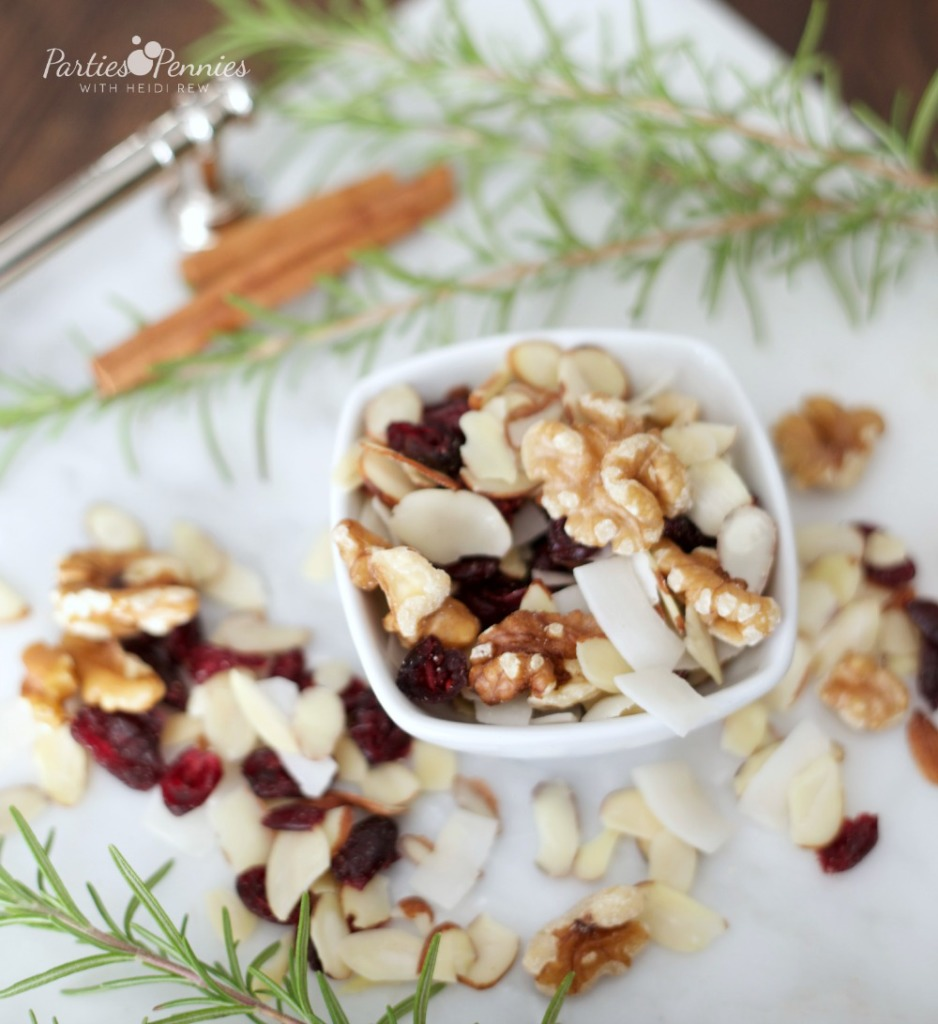 Homemade Trail Mix Appetizer by PartiesforPennies.com | 20 Budget-Friendly Appetizer Recipes