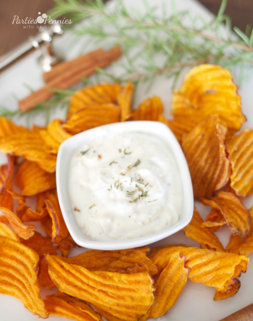 Sweet Potato Chips and Greek  Yogurt Dip  Appetizer by PartiesforPennies.com | 20 Budget-Friendly Appetizer Recipes