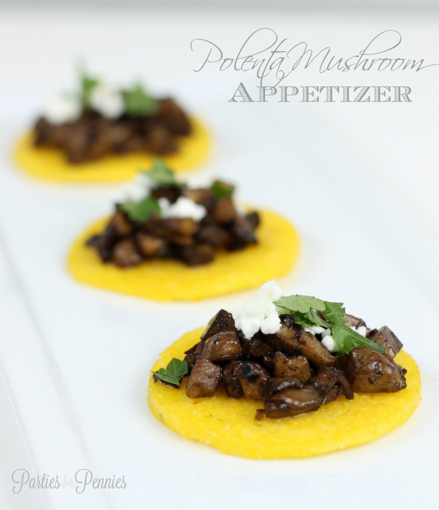 Polenta Mushroom Appetizer by PartiesforPennies.com | 20 Budget-Friendly Appetizer Recipes