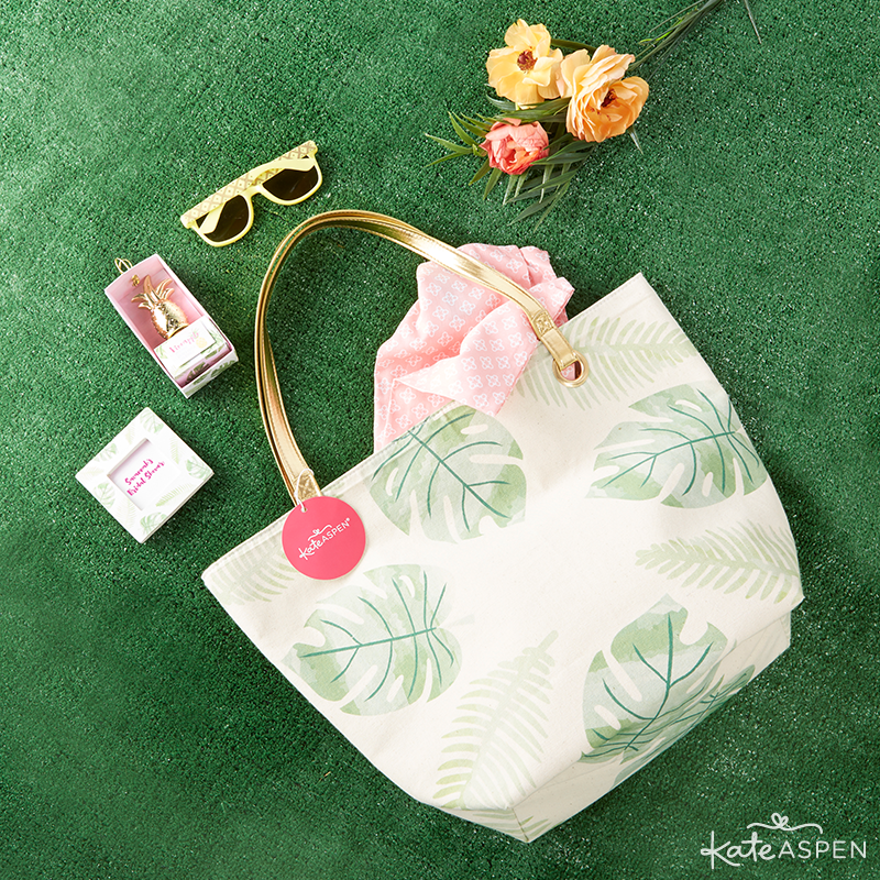 Everything you need to throw a Palm Spring Inspired Bridal Shower! Check out this Pineapple and Palms Bridal Shower with Kate Aspen on PartiesforPennies.com | Bridesmaid Gift Bag Idea