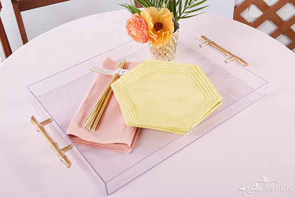Everything you need to throw a Palm Spring Inspired Bridal Shower! Check out this Pineapple and Palms Bridal Shower with Kate Aspen on PartiesforPennies.com | DIY Acrylic Tray