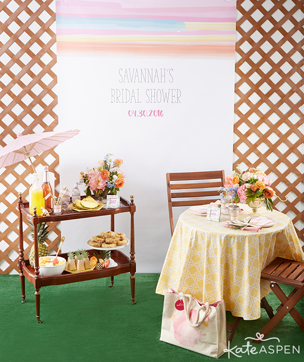 Everything you need to throw a Palm Spring Inspired Bridal Shower! Check out this Pineapple and Palms Bridal Shower with Kate Aspen on PartiesforPennies.com