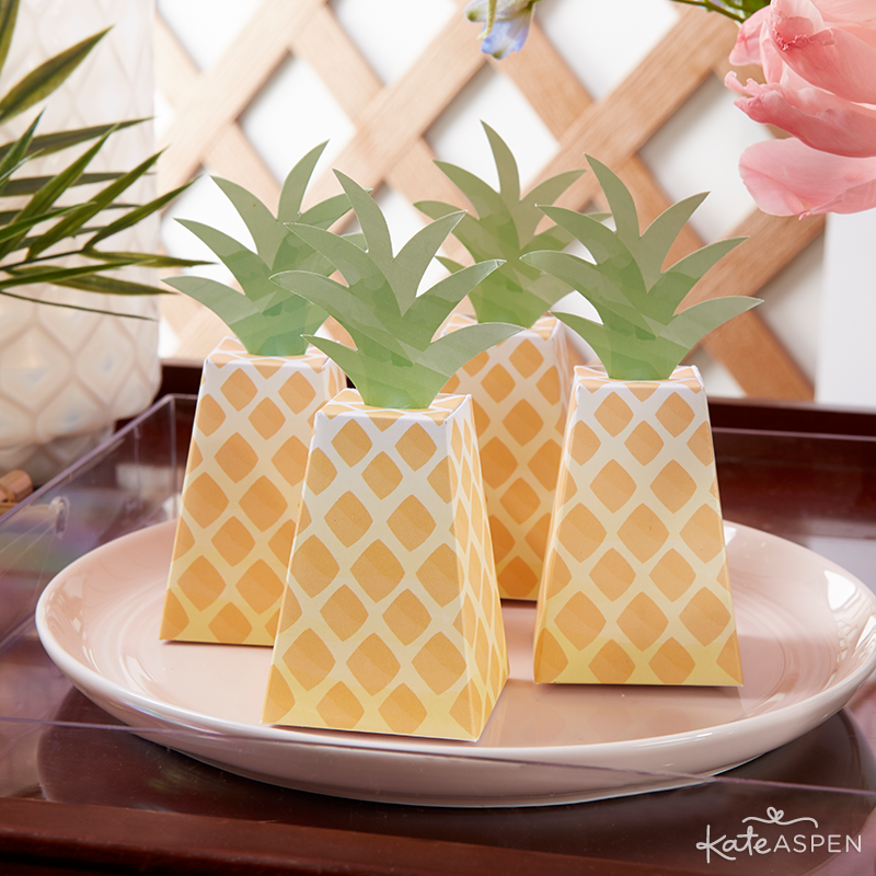 Everything you need to throw a Palm Spring Inspired Bridal Shower! Check out this Pineapple and Palms Bridal Shower with Kate Aspen on PartiesforPennies.com | Pineapple Favor Box