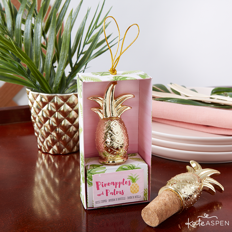 Everything you need to throw a Palm Spring Inspired Bridal Shower! Check out this Pineapple and Palms Bridal Shower with Kate Aspen on PartiesforPennies.com | Pineapple Wine Stopper
