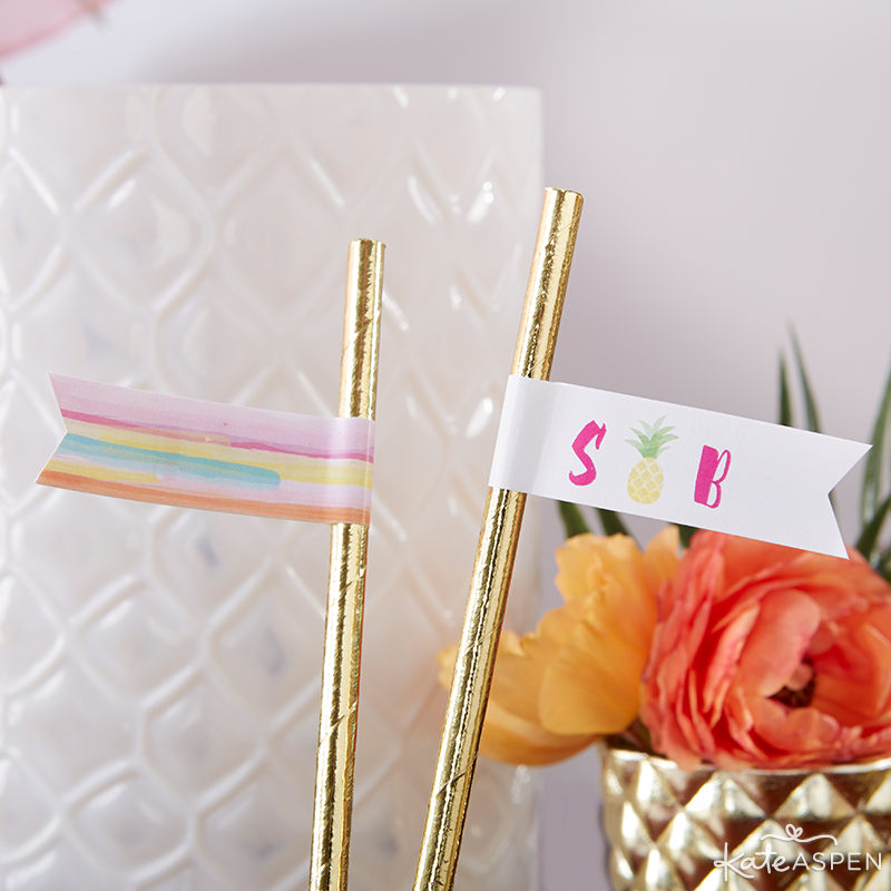 Everything you need to throw a Palm Spring Inspired Bridal Shower! Check out this Pineapple and Palms Bridal Shower with Kate Aspen on PartiesforPennies.com | Straw Flags