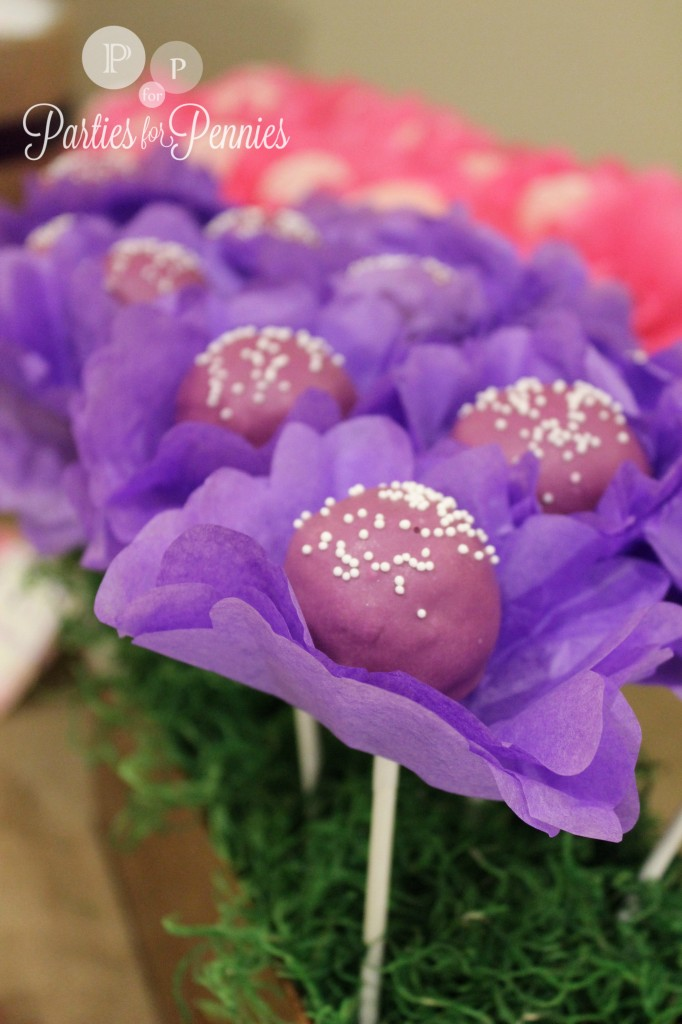 50 Ideas for Planning a Baby Shower | PartiesforPennies.com | Baby Shower Dessert - Flower Cake Pops