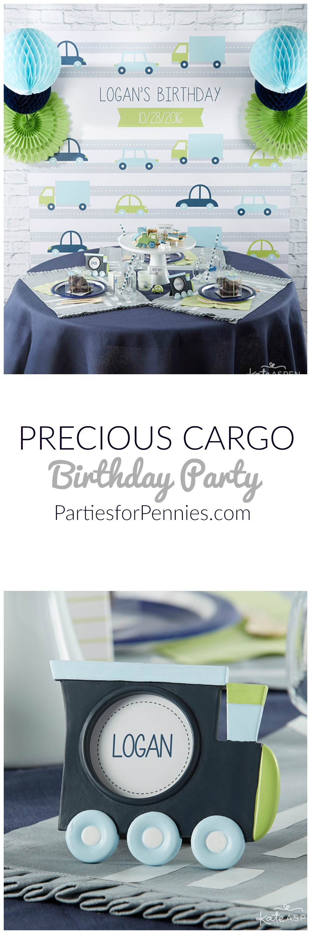 Precious Cargo Birthday Party from Kate Aspen | PartiesforPennies.com | Transportation Party, Plane Party, Train Party, Car Party, 1st Birthday Party