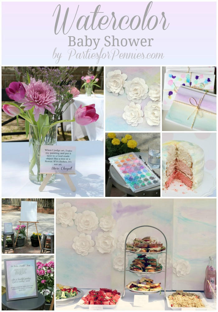 50 Ideas for Planning a Baby Shower | PartiesforPennies.com | Watercolor Baby Shower